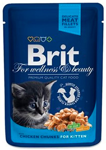 Brit Premium Chicken Chunks for kitten влажный корм